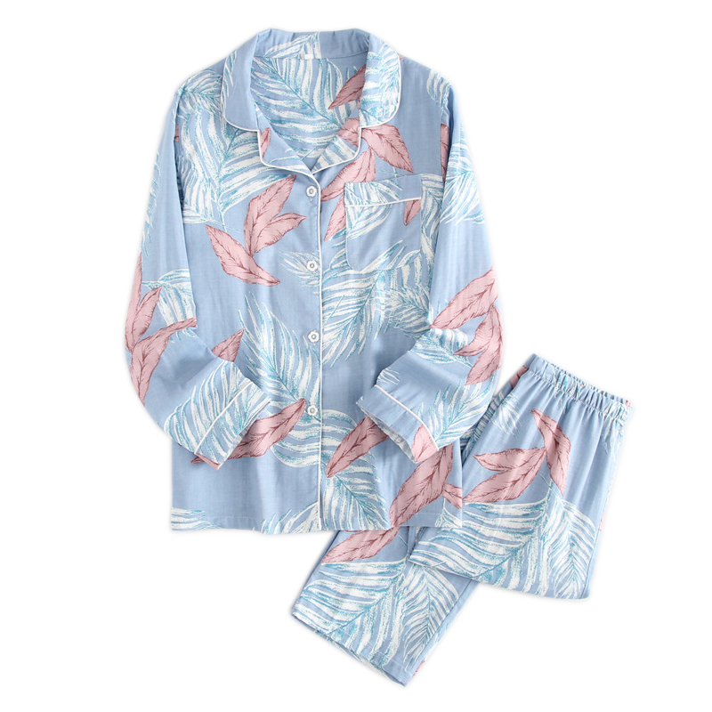 New Fresh Leaves   pajama     sets   women spring 100% gauze cotton long sleeve casual cozy sleepwear summer women pyjamas