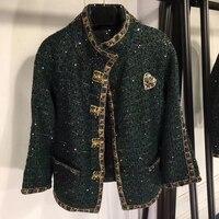 High Quality Coat Women 2018 High Quality Green Women Coat Women Short Coat Wool Women Luxury Brand Coat