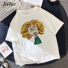 Jielur Cotton T-shirts for Women 2019 Korean Cute Cartoon Printed Basic Female T-shirt Preppy Style Loose Short Sleeve Top M-XXL