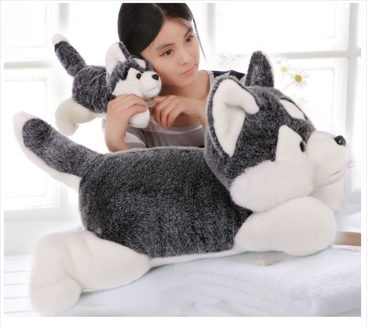 stuffed animal 80 cm plush simulation husky dog husky doll gift  w2521 рубашка animal husky shirt greeny