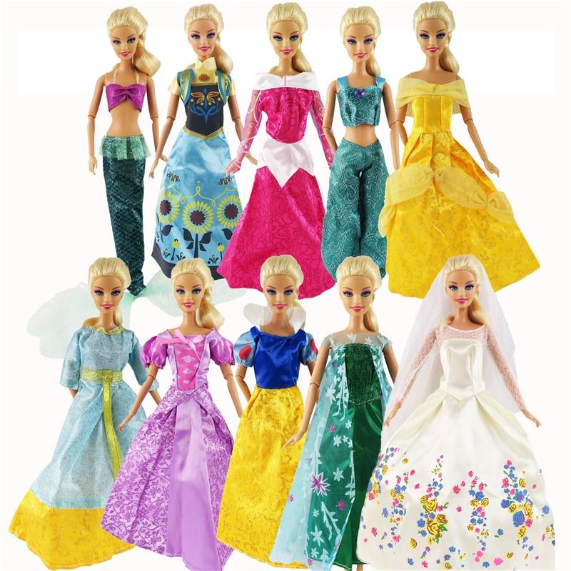5 Pcs Barbie Dolls Dress Similar Fairy Tale Princess Snowwhite Cinderella Anna Wedding Dress For Barbie Doll Girl Gift Kid Toys barbie originais pet set dolls with girl dolls barbie dolls boneca children gift brthday gift for girls brinquedo toys djr56