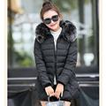 Plus Size 2016 New Fashion Winter Women Zipper Down Warm Long Sleeve Hooded Jackets Slim Style Casual Solid Faux Fur Parka Coat