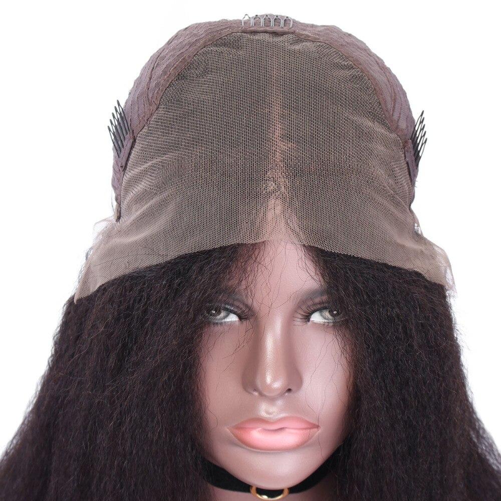 YVONNE 13x4 crépus droit court Bob perruques pour les femmes brésilienne vierge dentelle avant perruque de cheveux humains couleur naturelle - 5