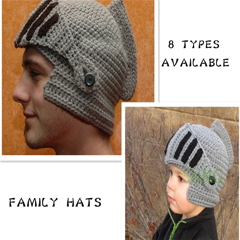 Winter Hats For Family Novelty Roman Knight Helmet Caps Handmade Knit Warm Winter Mask Hats Father Kids Beanies Cap Party Mask