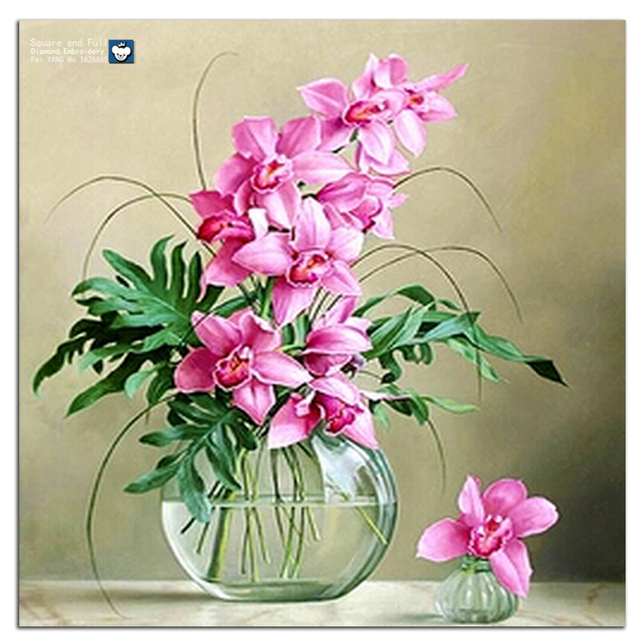 Diamond embroidery flowers 5d square drill pink flowers in vase diamond embroidery flowers 5d square drill pink flowers in vase pictures of crystals and diamonds paintings mightylinksfo