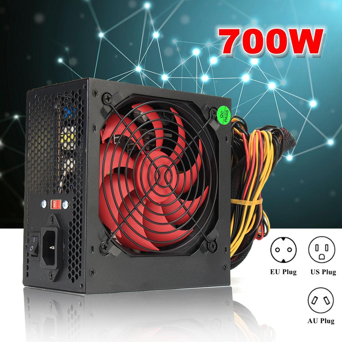 UE/AU/US enchufe MAX 700 W PCI SATA ATX 12 V Gaming PC alimentación 24Pin/ molex/Sata 700 Walt 12 cm equipo ventilador alimentación para BTC