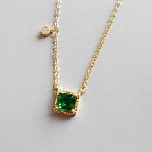 цена на 100% S925 sterling silver fashion geometric Chocker Necklaces square green cz cubic zircon pendant necklace female Women Girl