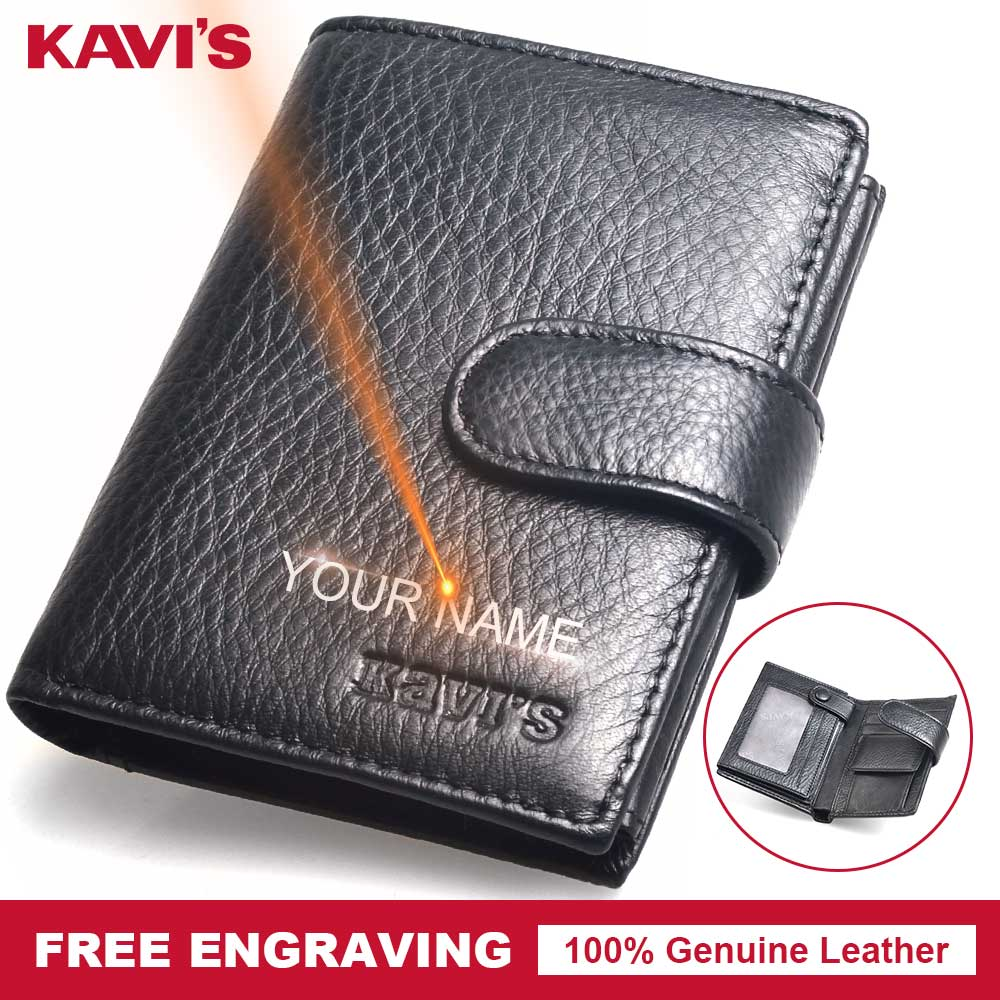KAVIS Hasp Genuine Leather Wallet Men Coin Purse Small Portomonee Walet PORTFOLIO Slim Gift Male Cuzdan Magic Money Card Holder