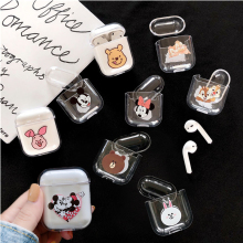 Cute Cartoon Bear Squirrel Clear Hard Case for Apple Airpods Headphone Cover Bluetooth Wireless Mickey Minnie Earphone Box Bags