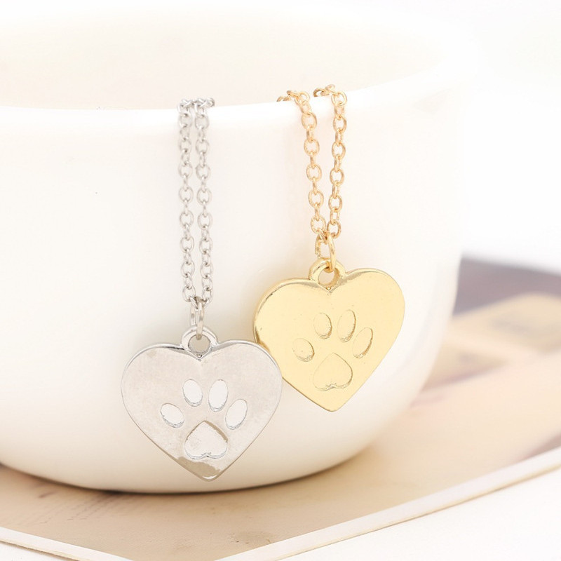 18k gold & silver Heart pendant pet, creative pet cat dog hamster bear footprints necklace ? Souvenir gift free shipping