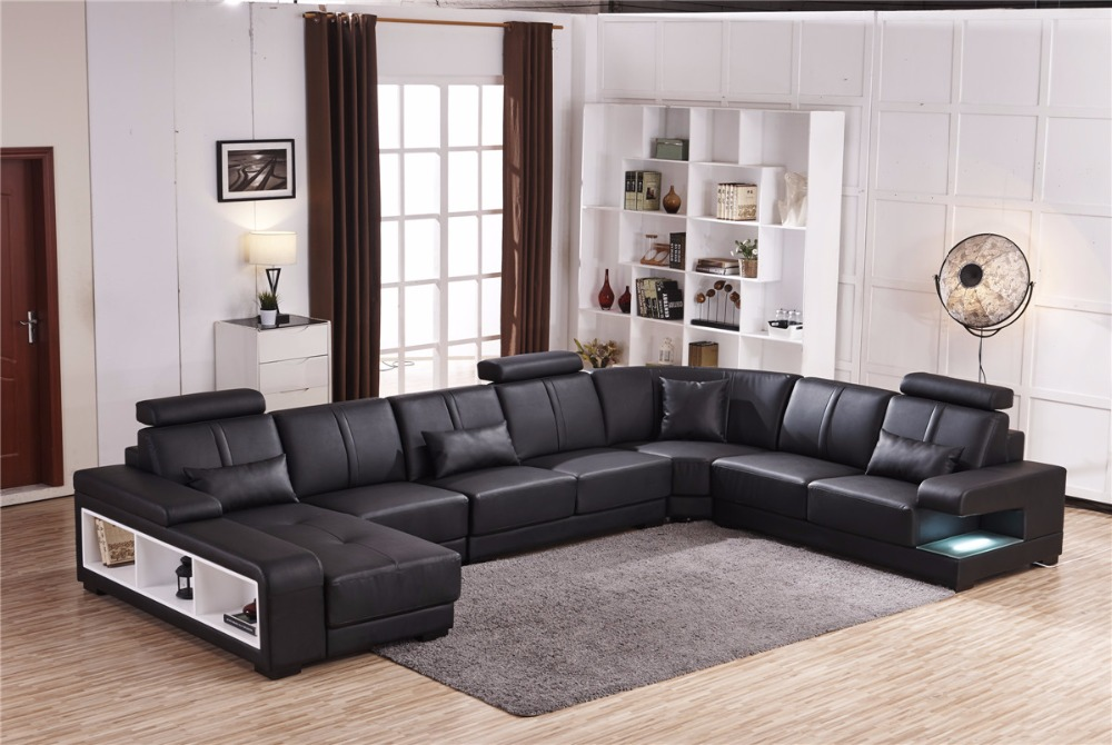 quality design 8fa39 2e262 US $2800.0 |Beanbag Chaise Specail Offer Sectional Sofa Design U Shape 7  Seater Lounge Couch Good Quality Cheap Price Corner Leather Sofa-in Living  ...