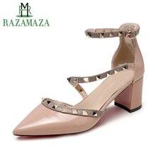 Купить с кэшбэком RAZAMAZA Women's Sandals Droppship Spring Summer Party Shoes Women Fashion Rivets Buckle Brand High Heels Footwear Size 34-39