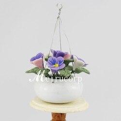 Sprzedaż hurtowa domek dla lalek skala 1:12 mini fioletowy kwiat