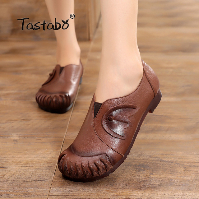 ee9f31cbf8 Tastabo Genuine Leather Flat Shoe 2019 spring Brown Black Women Driving  Shoe Female Moccasins Women Flats Hand-Sewing Shoes