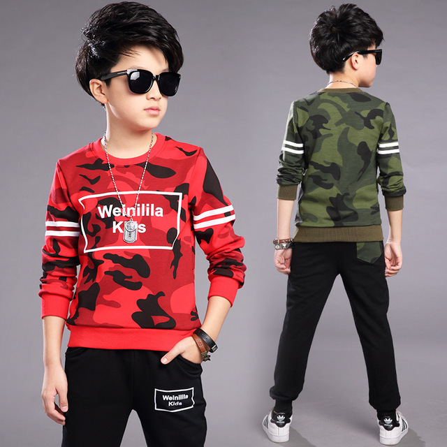 4 5 6 7 8 9 10 11 12 13 14 15 Years Sport Suit For Boy Long Sleeve Camouflage Shirt + Pant 2pcs Clothes Set For Teenagers Boy