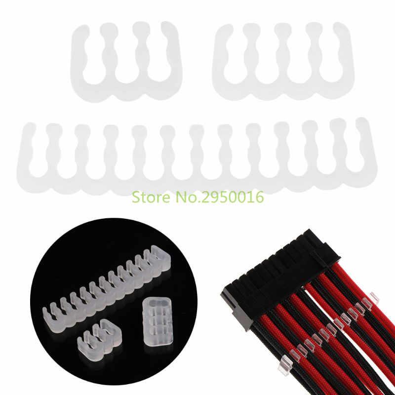 Прозрачные оплетки кабель расчески удлинитель зажимы для кабелей комплект для 6 8 24 Pin разъем питания C26