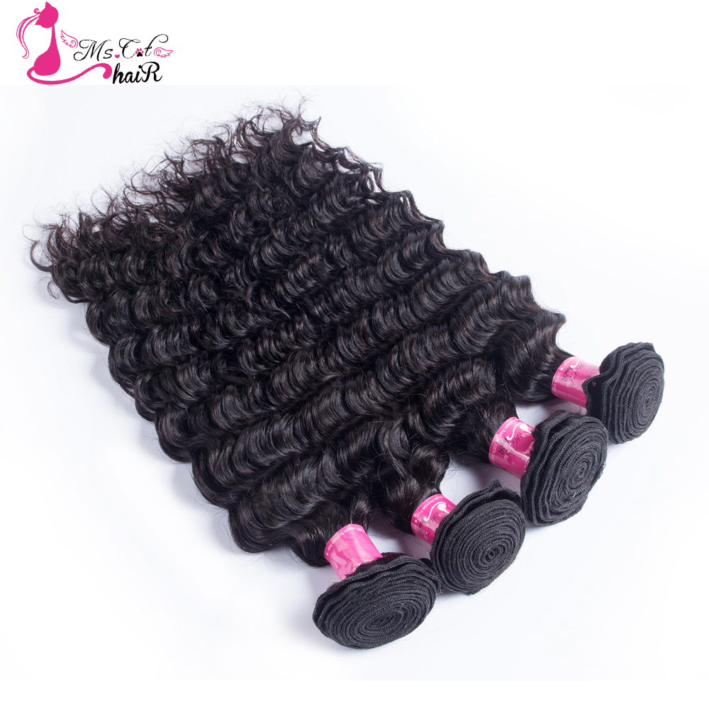 4 pcs Weft Ms Cat Hair Deep Wave Brazilian Hair Weave Bundles Non Remy Hair Weaving