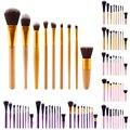 Pro Pinceles de Maquillaje de Nylon 9 Unids/set Conjunto Polvo de Mango De Plástico Herramienta Blush Fundación Make Up Brushes Kit Pincéis Maquiagem