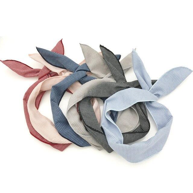 New Women Cloth art grid Satin Scarf headband Skinny Retro Hair Tie Band  Small Fashion Square Scarf accessories headwear 06f35e19c63