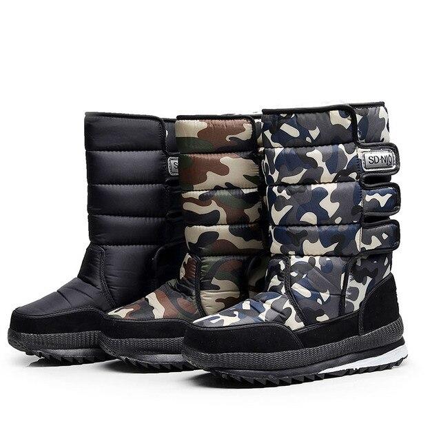 2018 ฤดูหนาวหิมะรองเท้าบู๊ทผู้ชายสูงกระบอก plush warm