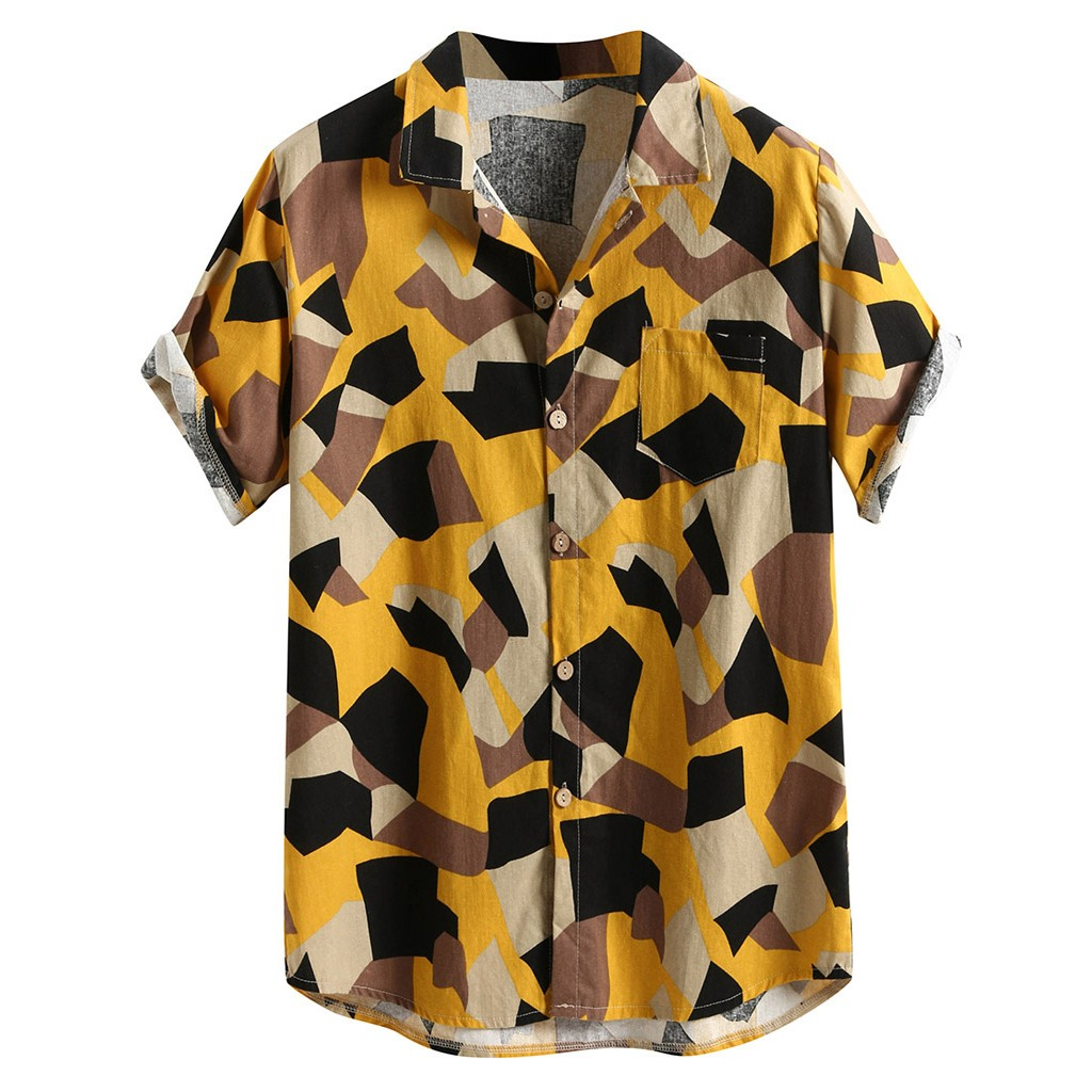 Womail 2019 New Arrival Mens Fashion Short Sleeve Beach Hawaiian Shirts Casual Print Shirts Regular Plus Size 2XL Mens Clothing