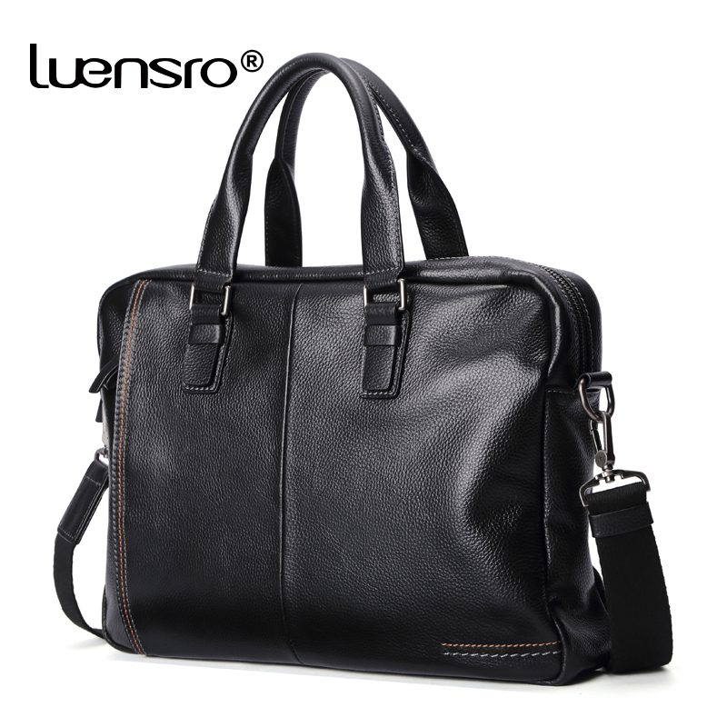 LUENSRO Men Briefcase Genuine Leather Bag Cowhide Men Handbag Large Capacity Male Bag Laptop Briefcases Leather Shoulder Bags