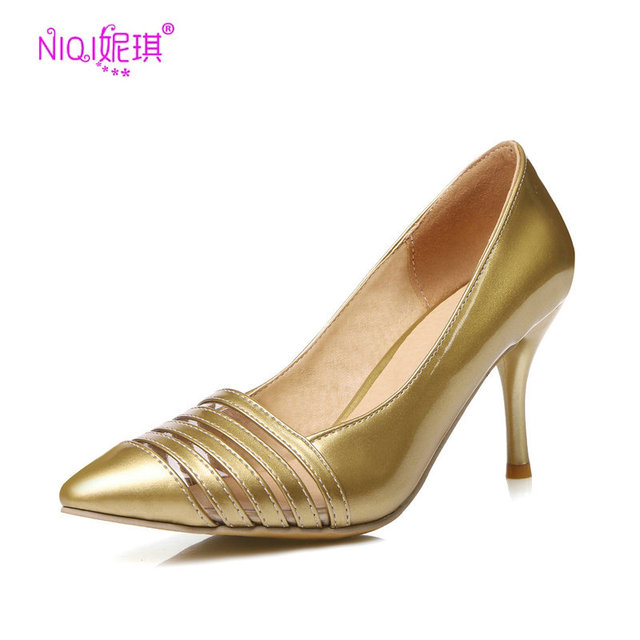 bbc5ab2562 NIQI Marca Cortar Sapatos Ouro Prata Bombas Sapatos Mulheres 8 cm Dedo  Apontado Elegantes sapatos de