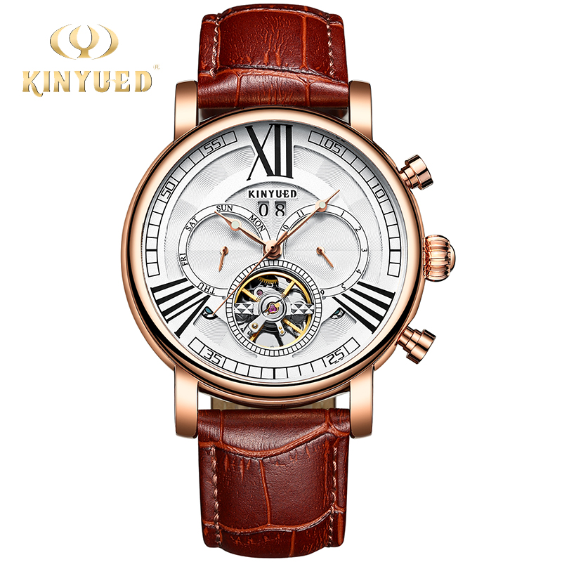 KINYUED Fashion Leather Men Automatic Watch Calendar Waterproof Sports Mechanical Tourbillon Watches Relogio Masculino Dropship