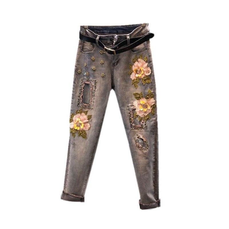Vintage 2019 Autumn Women Heavy dimensional flowers jeans with high waist