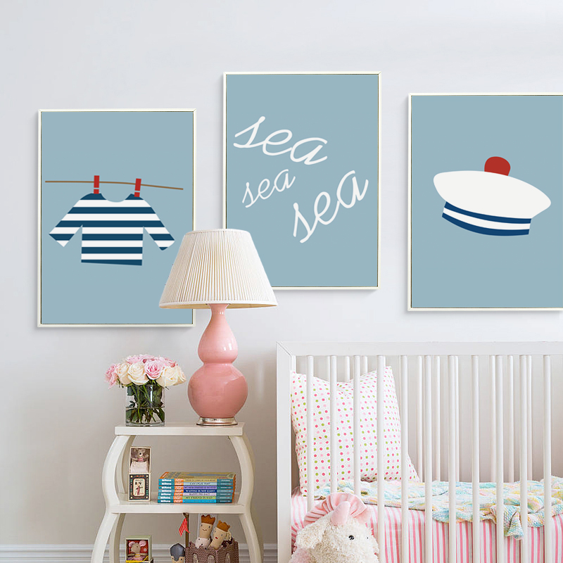 07G Simple And Lovely Sailor Cartoon Items A4 A3 Canvas Art Painting Print Poster Picture Wall Baby Childrens Room Decor Murals
