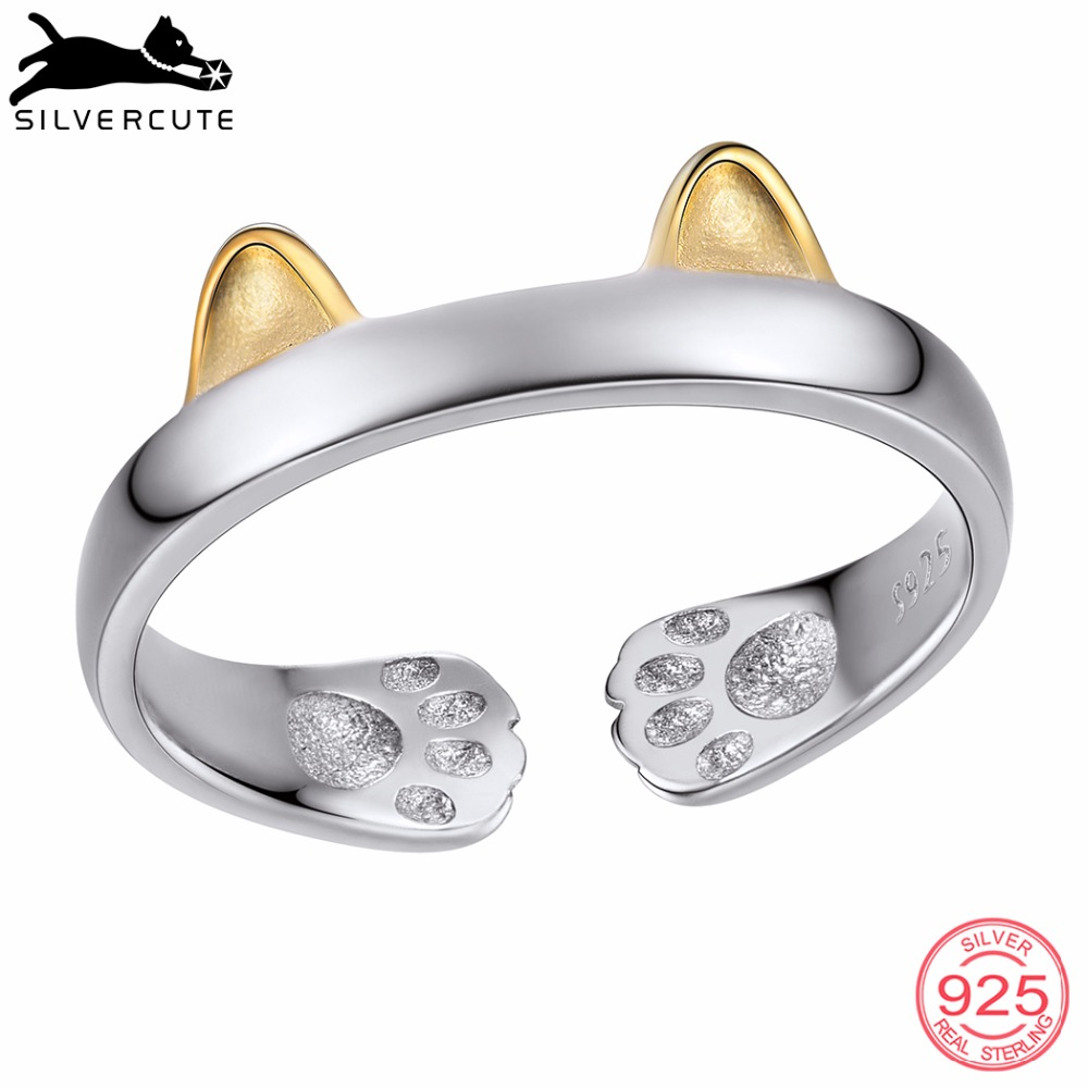 Two Tone Cat Ear Paw Footprint Rings For Women Gold Color 925 Sterling Silver Fine Jewelry Open Finger Ring SCR6033BK