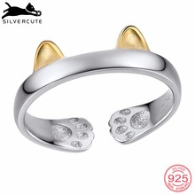SILVERCUTE Two Tone Cat Ear Paw Footprint Rings For Women Gold Color 925 Sterling Silver Fine Jewelry Open Finger Ring SCR6033BK