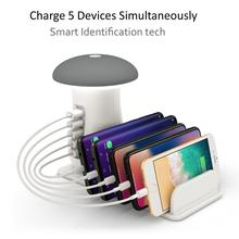Charging Station,Charging Stand Organizer With Mushroom LED Desk Lamp-3.0 Quick Charge Multiple Charger Docking Station