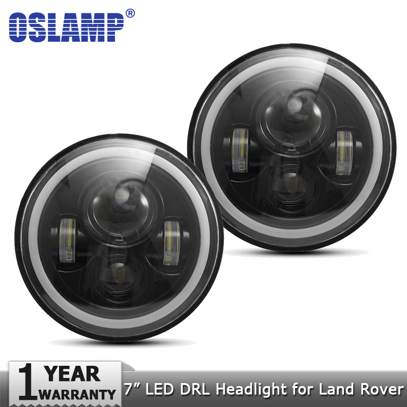 Oslamp 7 inch 60W DRL Amber White Halo Angle Eyes LED Headlight Bulbs DC12v Led Headlamp Driving Light for Land Rover Defender