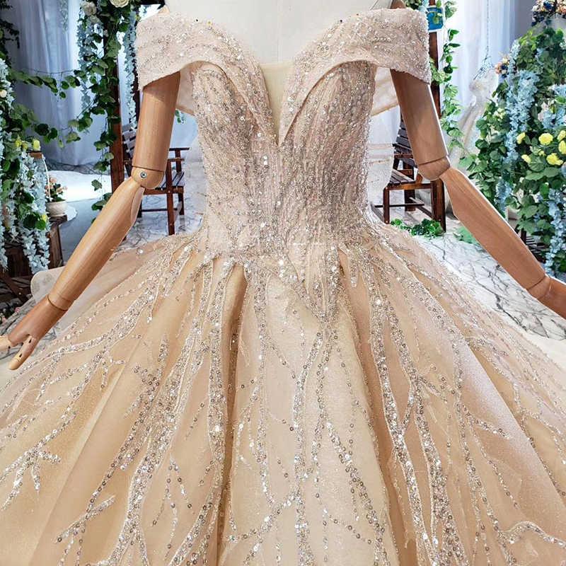 HTL562 שמפניה שמלת כלה עם רכבת כבוי כתף מתוקה כלה חתונה בציר שמלות 2019 robe לונג dentelle