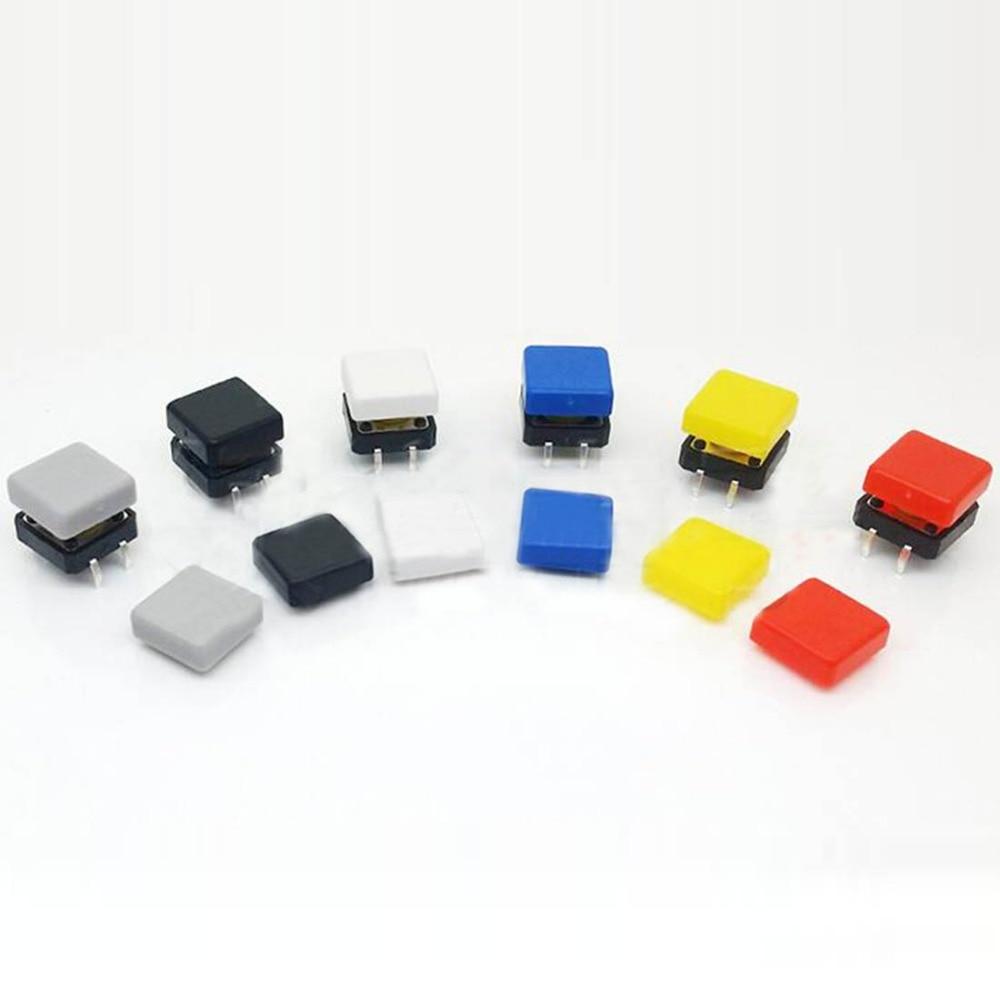 100pcs 12*12mm push button switch cap square button cap multi color button caps for 12*12mm square tactile switches