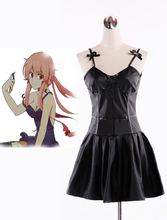 Envío gratis diario de futuro de Mirai Nikki Gasai Yuno Cosplay Anime negro faux Leather Dress