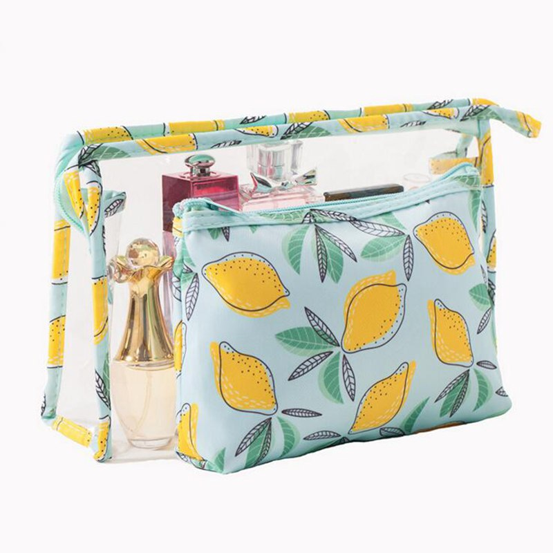 2 Stks/set Transparante Pvc Lederen Reizen Make-up Tas Fruit Dier Schattige Make Up Organizer Opslag Rits Multifunctionele Cosmetische Tas
