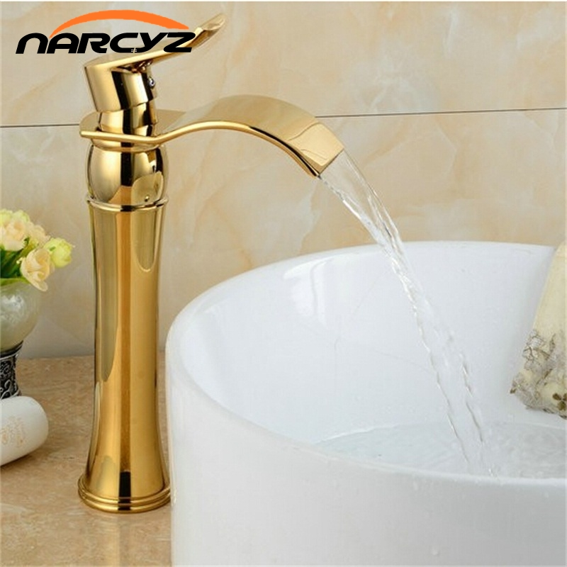 Waterfall Gold Faucet Single Handle Antique Kitchen Basin Mixer Taps Single Hole Sink Faucet XT815 unique single top lever waterfall basin mixer faucet gold color basin sink taps