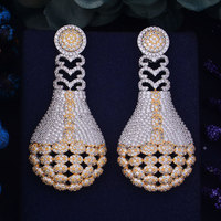 GODKI 60mm Luxury Trendy Round Disc Totem Full Mirco Paved Cubic Zirconia Naija Wedding Drop Earring
