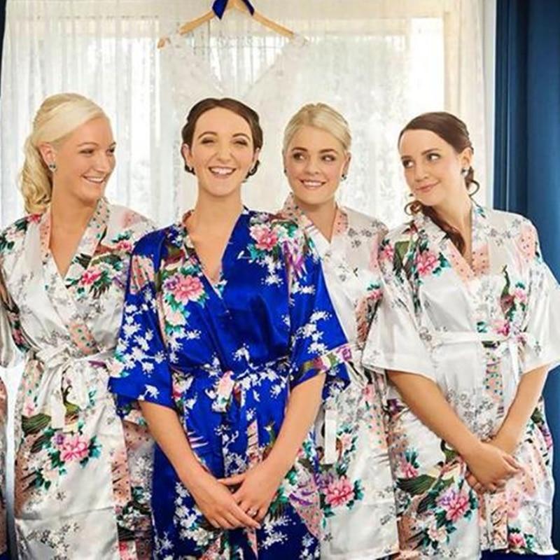 2015 Silk Bathrobe Women Satin Kimono Robes For Women Floral Robes