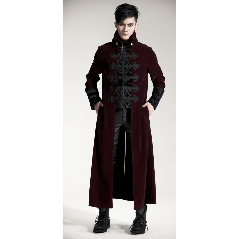 PUNK RAVE Men Gothic Winter Velvet Fabric Long Jacket Coat Wine Red Steampunk Stage Performance Printed Street Trench Coat