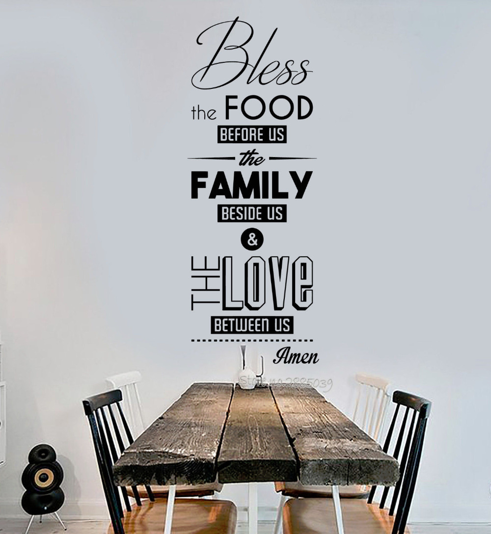 Bless the Food Quote Wall Decal Nontoxic PVC Sticker Prayer Dining Room Kitchen Restaura ...