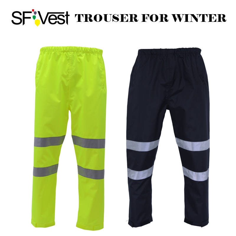 SFvest High visibility neon yellow winter thermal rain trousers workwear winter warm tro ...