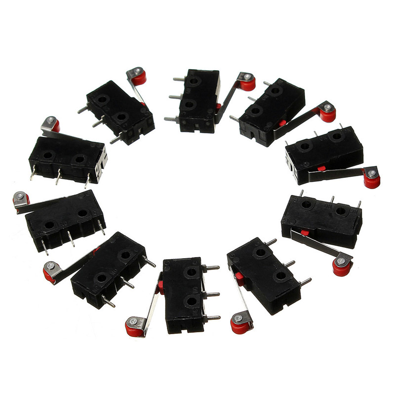10Pcs Limit Switches, 3 Pin N/O N/C 5A 125V-250VAC Micro Switch Roller Lever Arm PCB Terminals KW12-3 limit switches limit sw