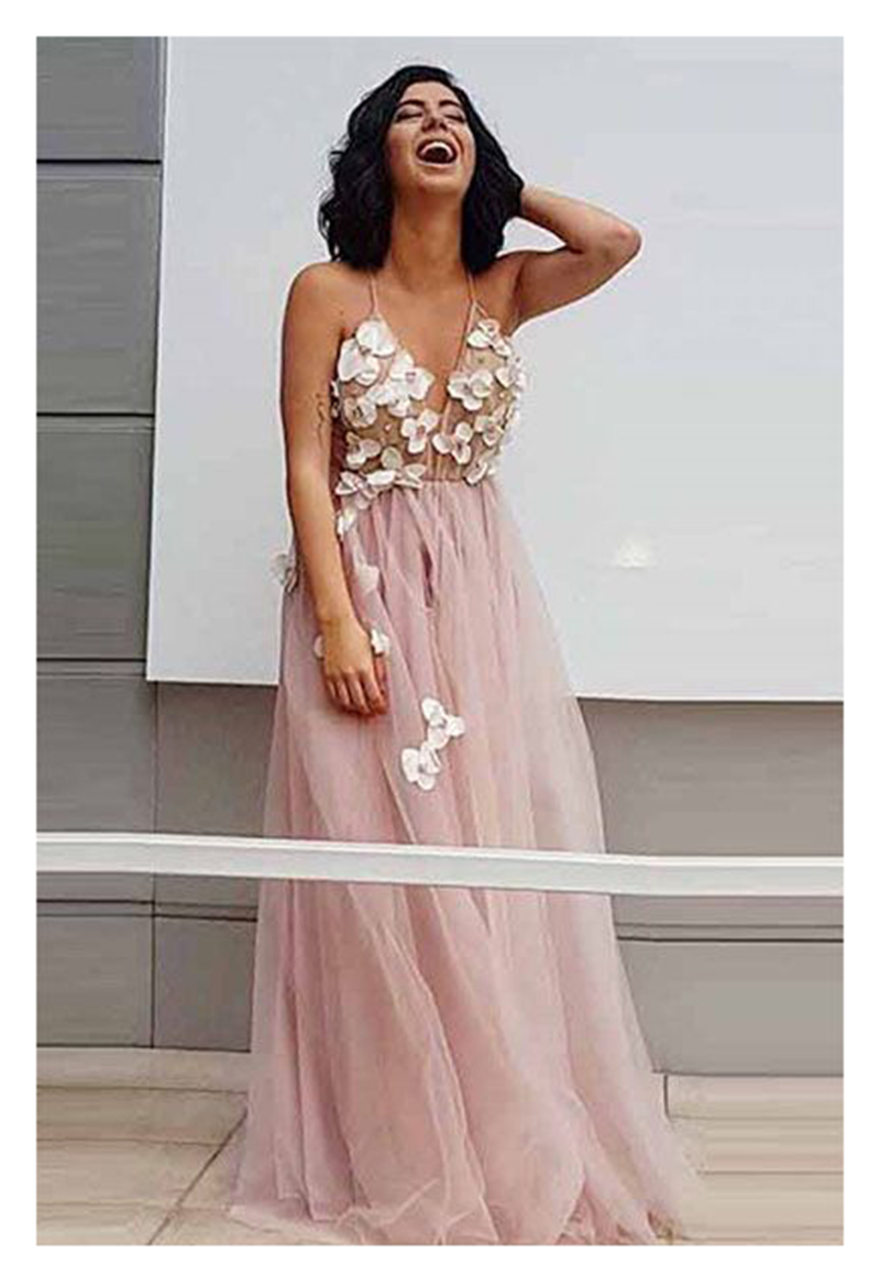 Pink Wedding Dress 2019 Handmade Flowers Tulle A Line Sexy