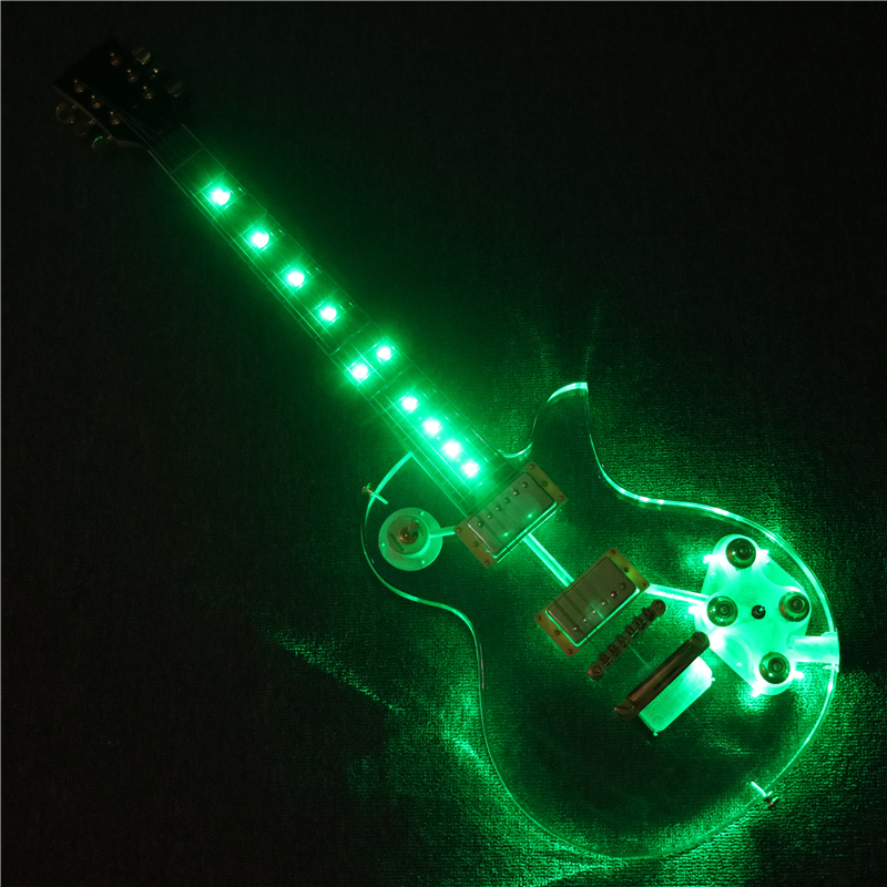 new design afanti music acrylic body super electric guitar with green led lights pag 120 in. Black Bedroom Furniture Sets. Home Design Ideas