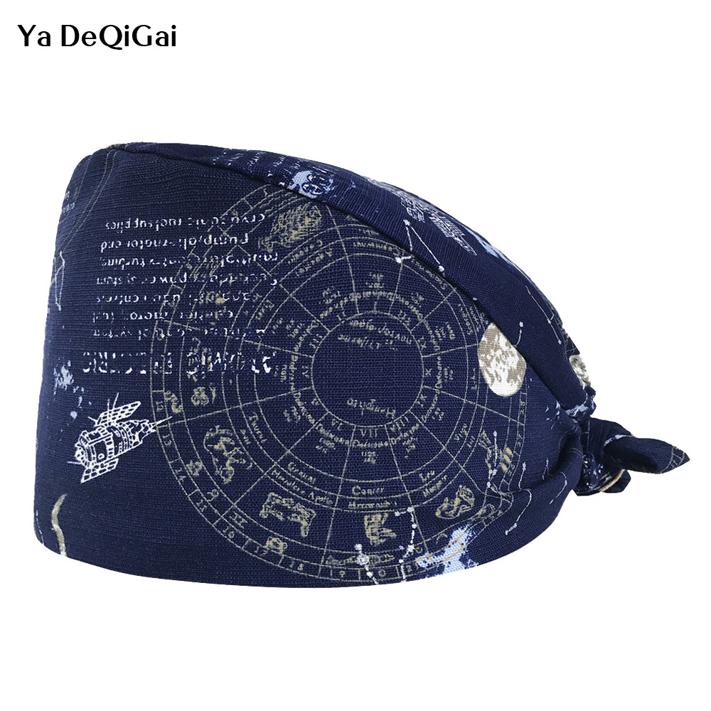 Beauty Salon Surgical Cap Doctor Nurse Pharmacist Medical Cap Printing Dome Scrub Hat Dental Clinic Work Hat Nursing Medical Cap