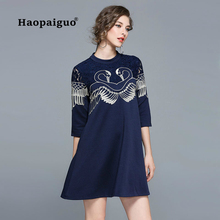 Print Swan Black Dress Women O-neck Three Quarter Mini Casual Red Blue Vestidos Mujer 2018 Autumn Clothes