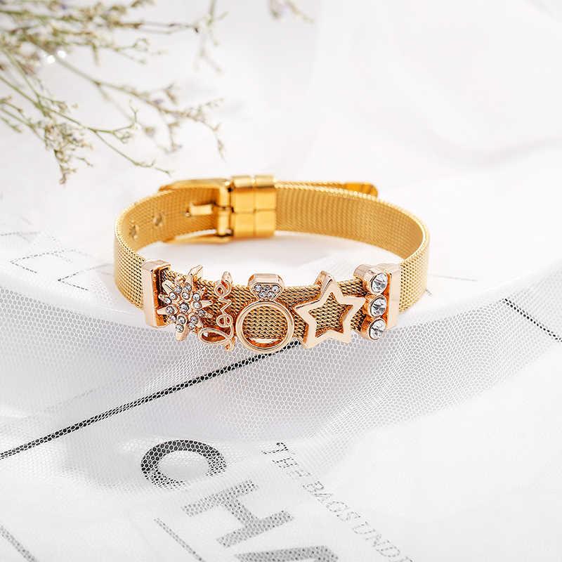 CHIELOYS różowe złoto bransoletka amulet ze stali nierdzewnej korona i marka gwiazd bransoletka Reflexions bransoletki z siatki dla kobiet Lover prezent